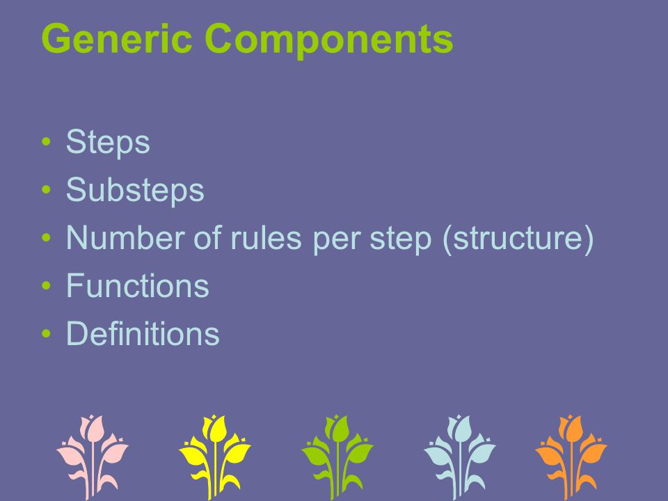 Generic Components Steps Substeps Number of rules per step (structure) Functions Definitions