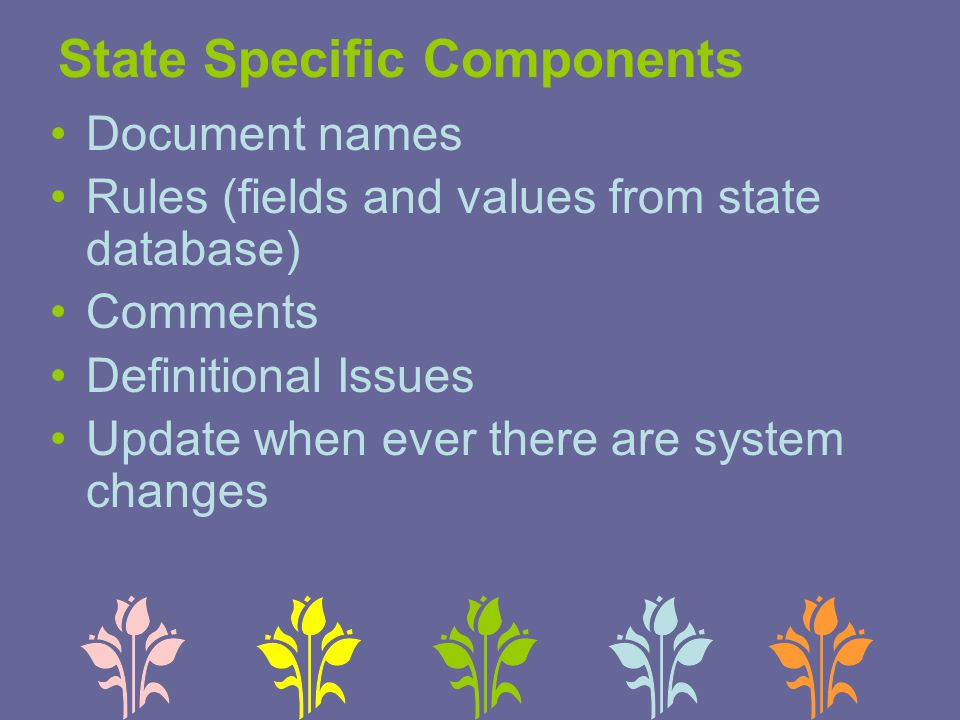 State Specific Components Document names Rules (fields and values from state database) Comments Definitional Issues Update when ever there are system changes