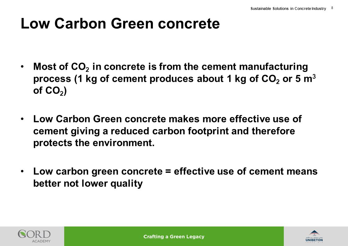 Sustainable Solutions in Concrete Industry 49 Cost similar to most concrete used in GCC containing Slag or PFA Green alternative only 7% of carbon footprint of traditional OPC concrete Significant Carbon Credits due to reduction of CO 2 emissions Track record of use in pre-tensioned pre-stressed concrete in USA Green Pre-stressed Concrete Advantages