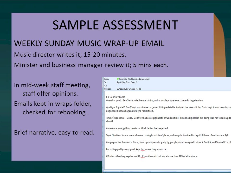 SAMPLE ASSESSMENT WEEKLY SUNDAY MUSIC WRAP-UP EMAIL Music director writes it; 15-20 minutes.