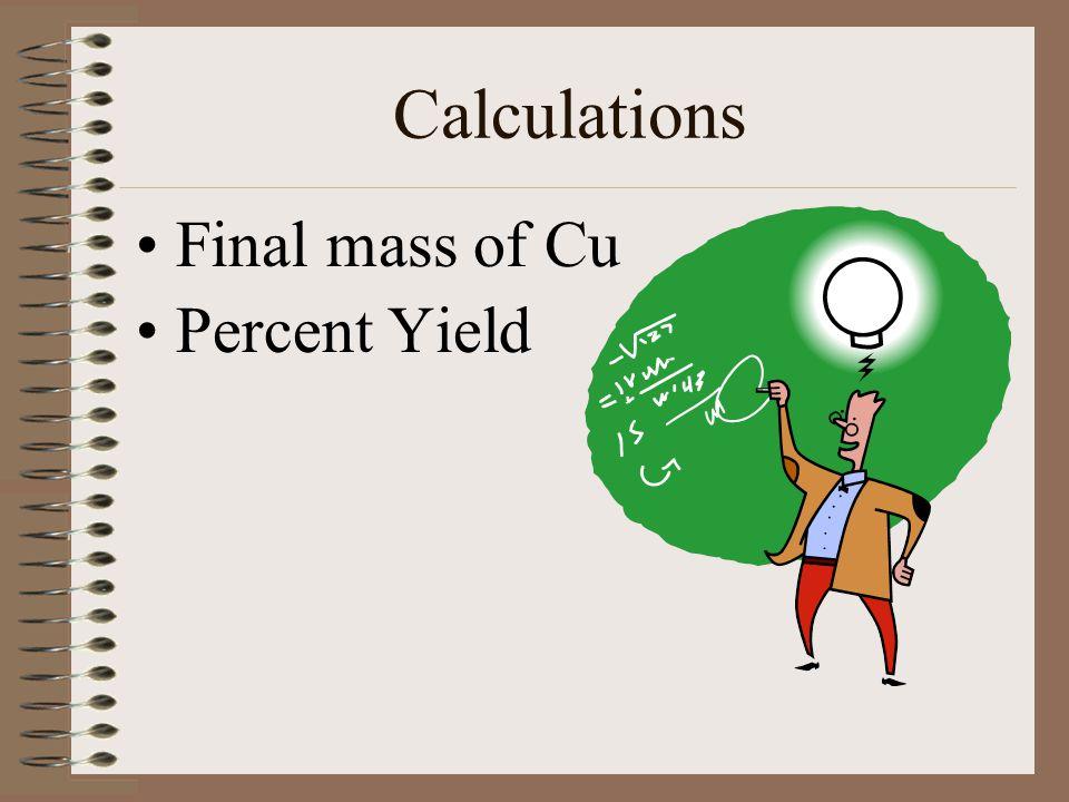 Calculations Final mass of Cu Percent Yield