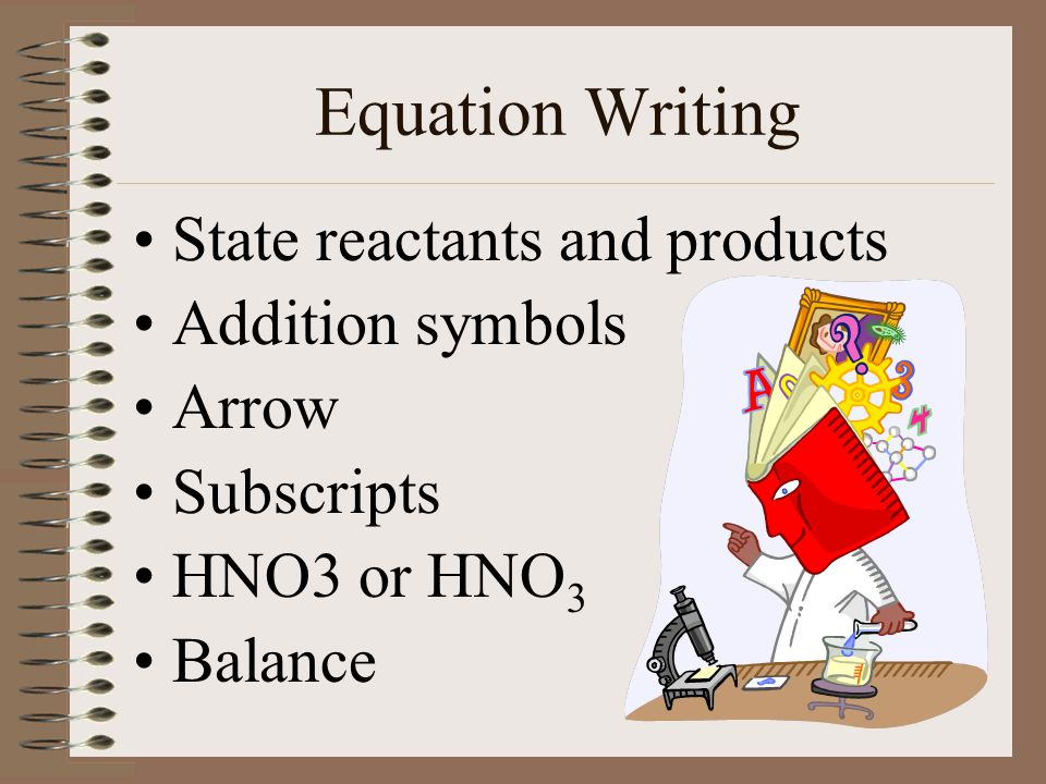 Equation Writing State reactants and products Addition symbols Arrow Subscripts HNO3 or HNO 3 Balance