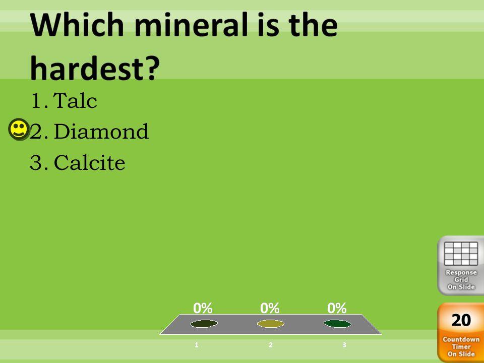 1.Diamond 2.Orthoclase 3.Fluorite 20