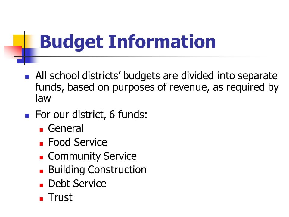 Budget Information All school districts' budgets are divided into separate funds, based on purposes of revenue, as required by law For our district, 6 funds: General Food Service Community Service Building Construction Debt Service Trust