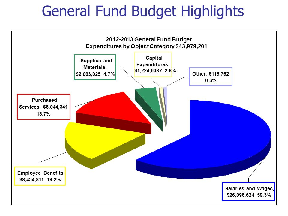 General Fund Budget Highlights 2012-2013 General Fund Budget Expenditures by Object Category $43,979,201 Purchased Services, $6,044,341 13.7% Capital Expenditures, $1,224,6387 2.8% Supplies and Materials, $2,063,025 4.7% Other, $115,762 0.3% Employee Benefits $8,434,811 19.2% Salaries and Wages, $26,096,624 59.3%