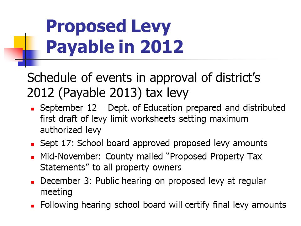Proposed Levy Payable in 2012 Schedule of events in approval of district's 2012 (Payable 2013) tax levy September 12 – Dept. of Education prepared and