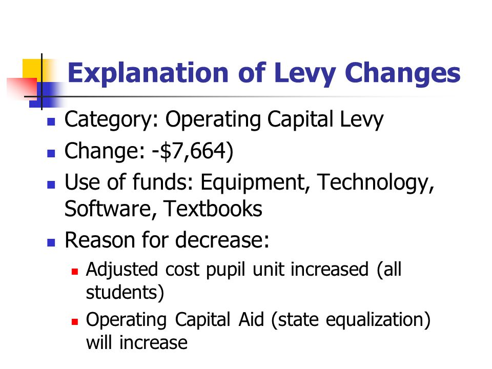 Explanation of Levy Changes Category: Operating Capital Levy Change: -$7,664) Use of funds: Equipment, Technology, Software, Textbooks Reason for decrease: Adjusted cost pupil unit increased (all students) Operating Capital Aid (state equalization) will increase