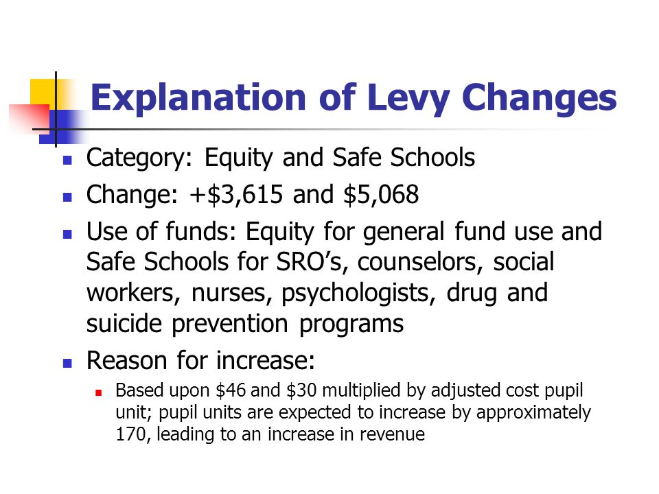 Explanation of Levy Changes Category: Equity and Safe Schools Change: +$3,615 and $5,068 Use of funds: Equity for general fund use and Safe Schools fo