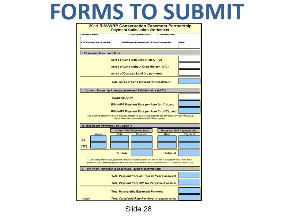 Slide 28 FORMS TO SUBMIT