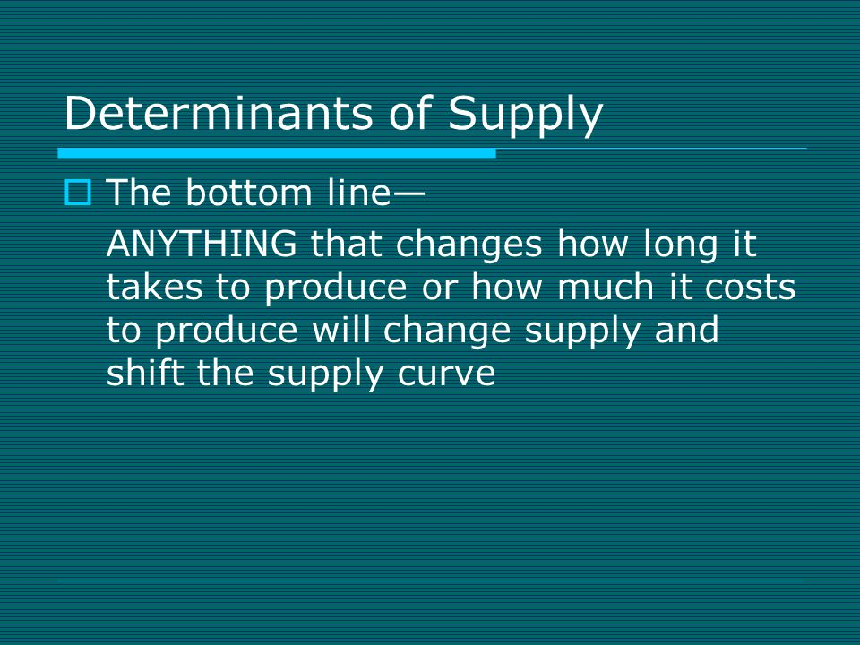 Movement of the Supply Curve  If it costs more to make an item, will you make more or less.