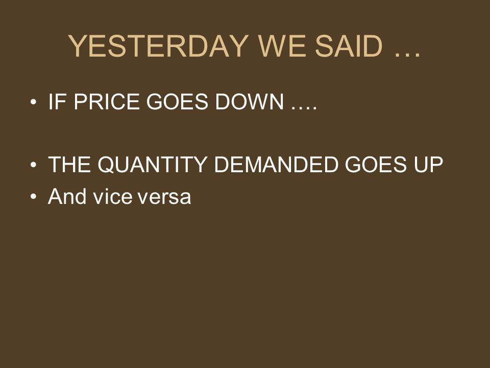 YESTERDAY WE SAID … IF PRICE GOES DOWN …. THE QUANTITY DEMANDED GOES UP And vice versa