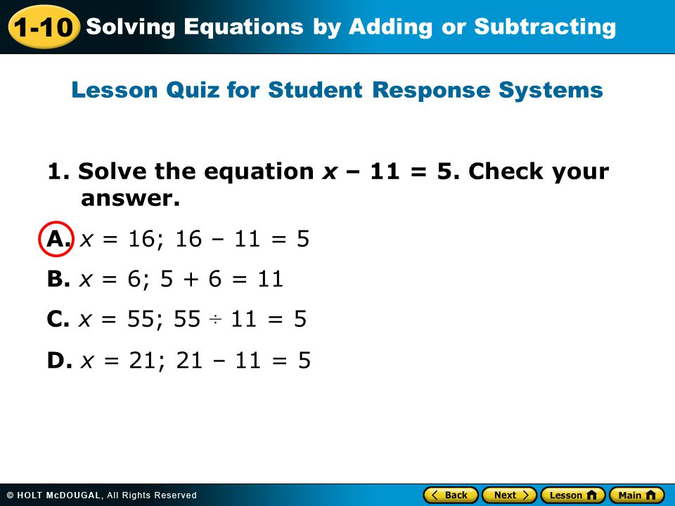 1-10 Solving Equations by Adding or Subtracting 1.