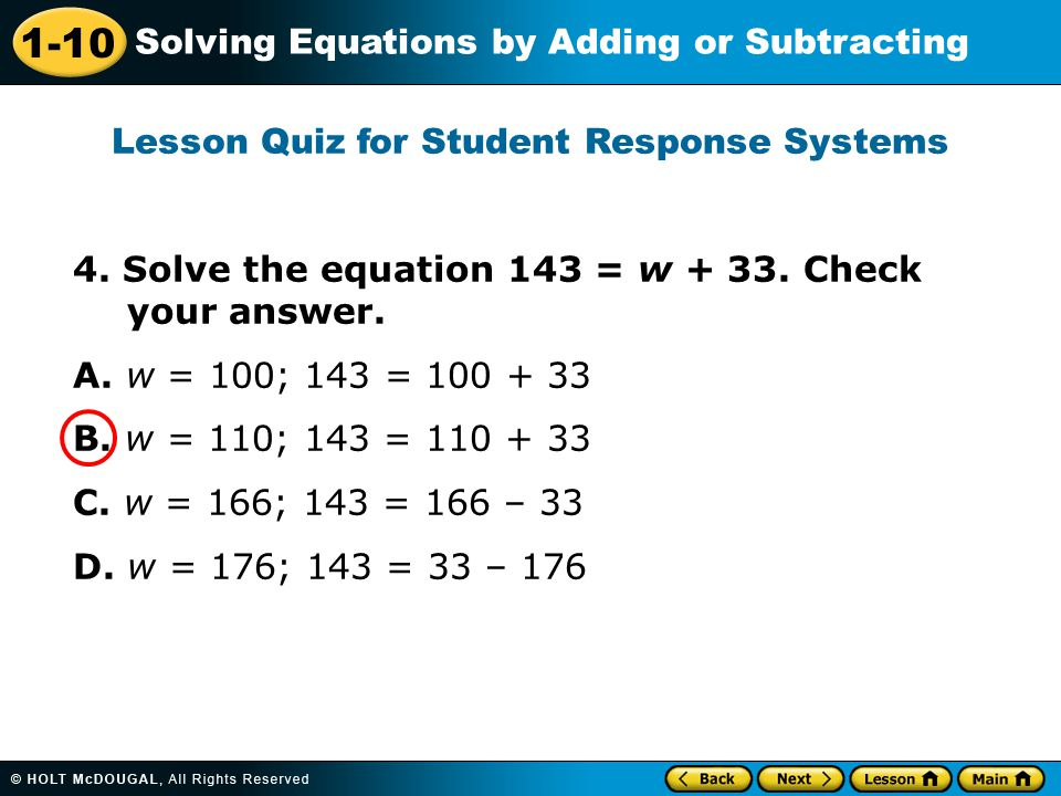 1-10 Solving Equations by Adding or Subtracting 4.