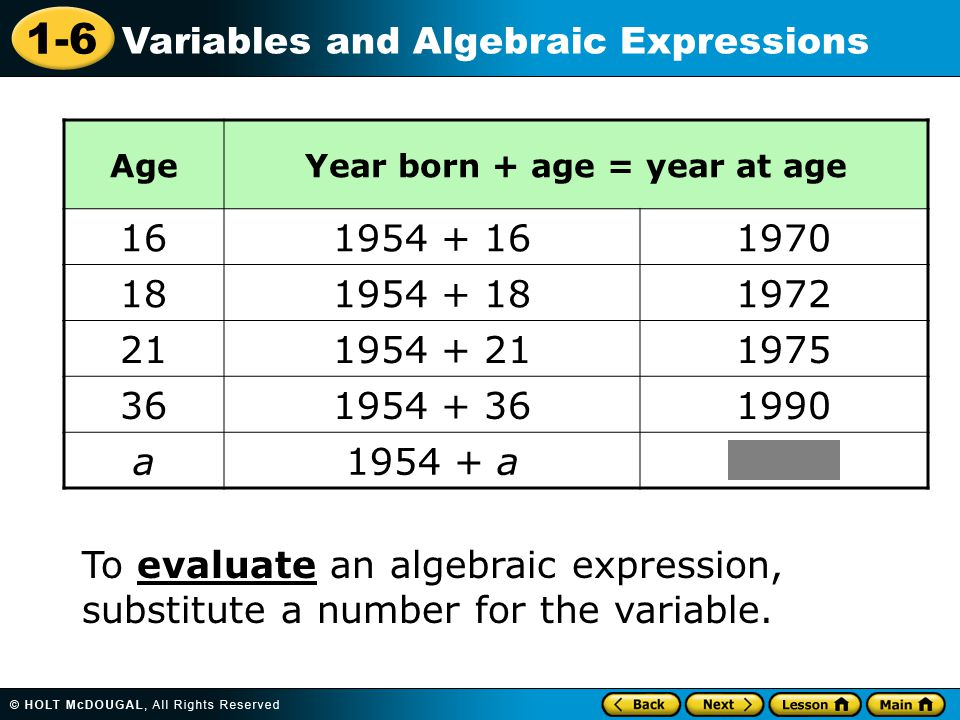 1-6 Variables and Algebraic Expressions To evaluate an algebraic expression, substitute a number for the variable.