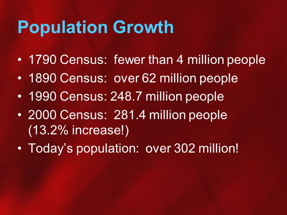 Population Growth 1790 Census: fewer than 4 million people 1890 Census: over 62 million people 1990 Census: 248.7 million people 2000 Census: 281.4 mi