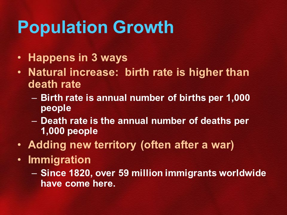 Population Growth Happens in 3 ways Natural increase: birth rate is higher than death rate –Birth rate is annual number of births per 1,000 people –Death rate is the annual number of deaths per 1,000 people Adding new territory (often after a war) Immigration –Since 1820, over 59 million immigrants worldwide have come here.