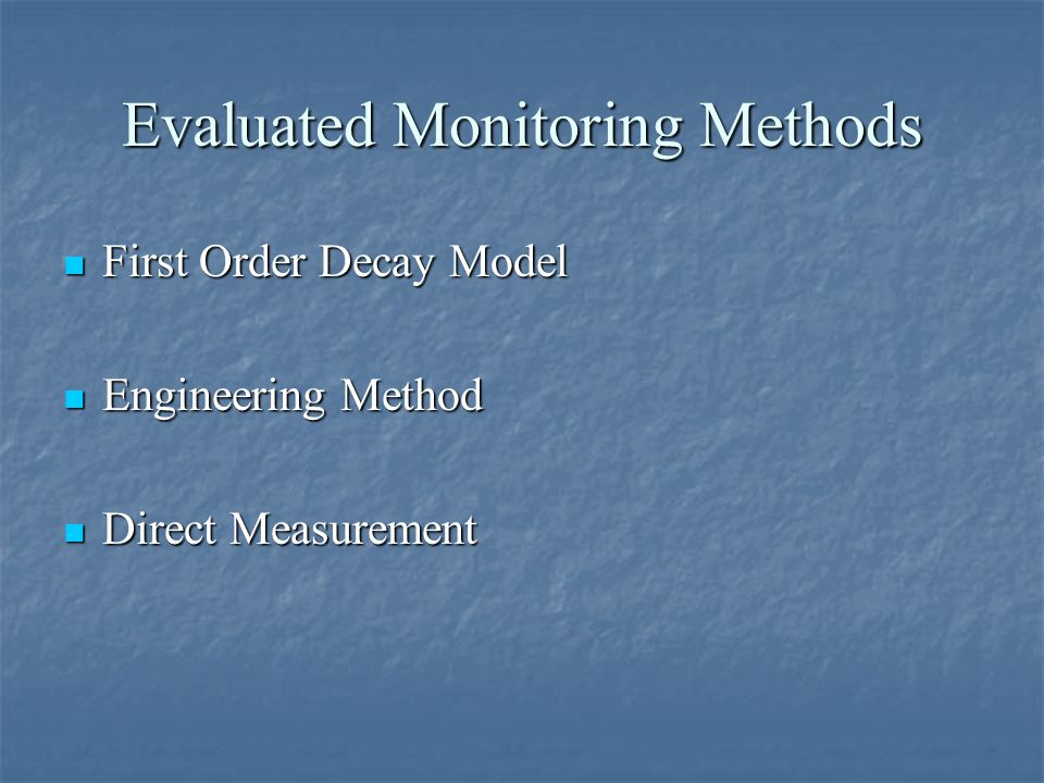 Evaluated Monitoring Methods First Order Decay Model First Order Decay Model Engineering Method Engineering Method Direct Measurement Direct Measurement
