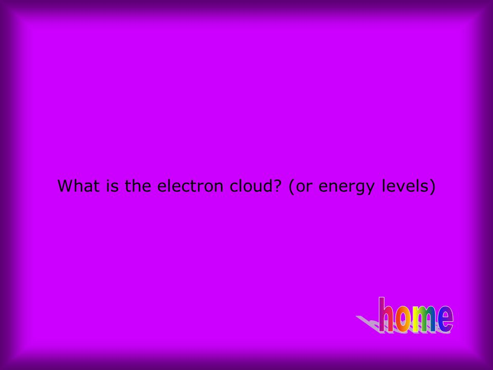 What is the electron cloud? (or energy levels)