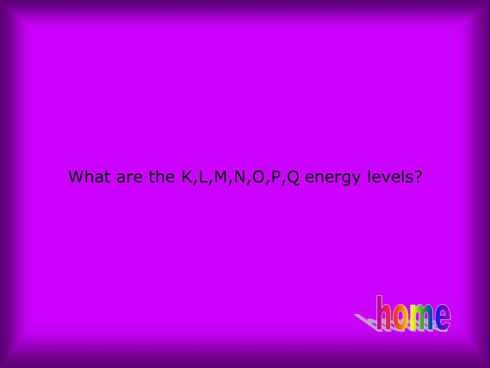 What are the K,L,M,N,O,P,Q energy levels?