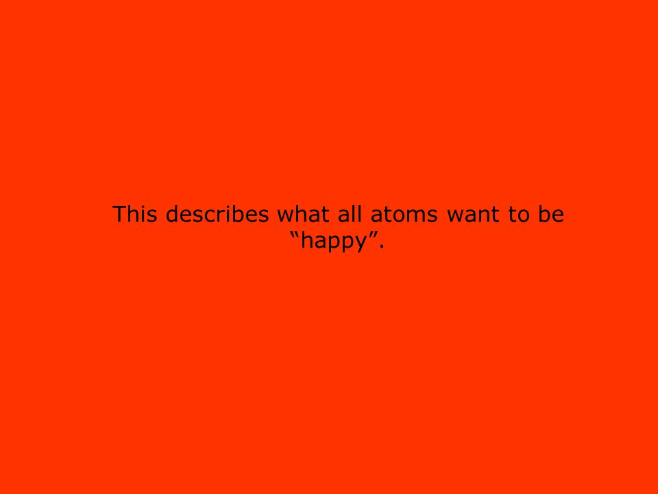 """This describes what all atoms want to be """"happy""""."""