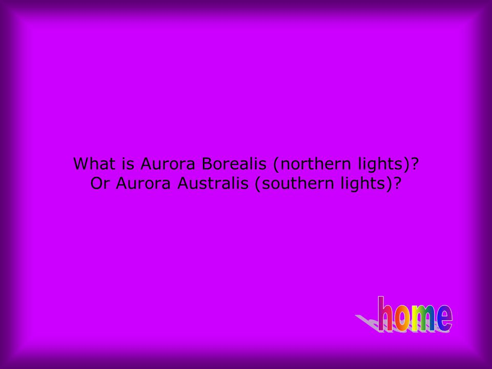 What is Aurora Borealis (northern lights)? Or Aurora Australis (southern lights)?