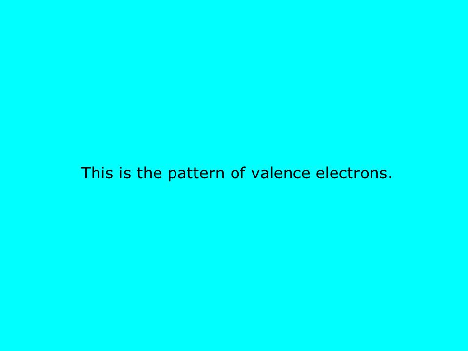 This is the pattern of valence electrons.