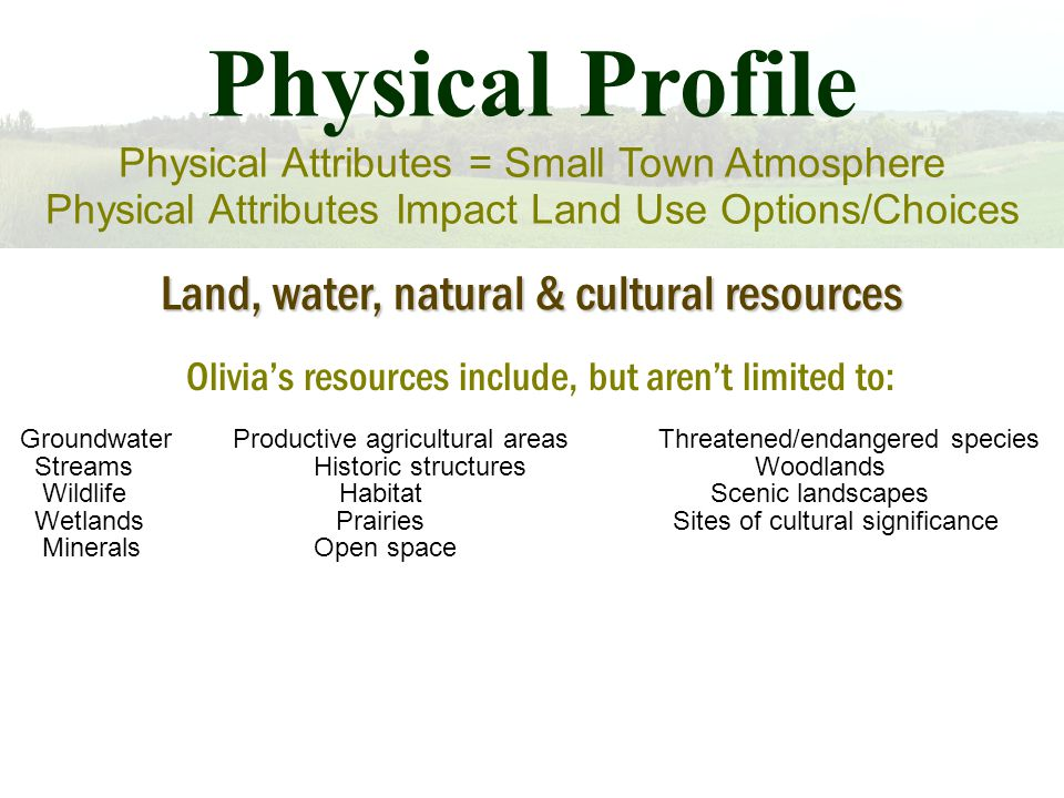 Physical Profile Physical Attributes = Small Town Atmosphere Physical Attributes Impact Land Use Options/Choices Land, water, natural & cultural resources Olivia's resources include, but aren't limited to: GroundwaterProductive agricultural areasThreatened/endangered species Streams Historic structures Woodlands WildlifeHabitat Scenic landscapes Wetlands Prairies Sites of cultural significance Minerals Open space