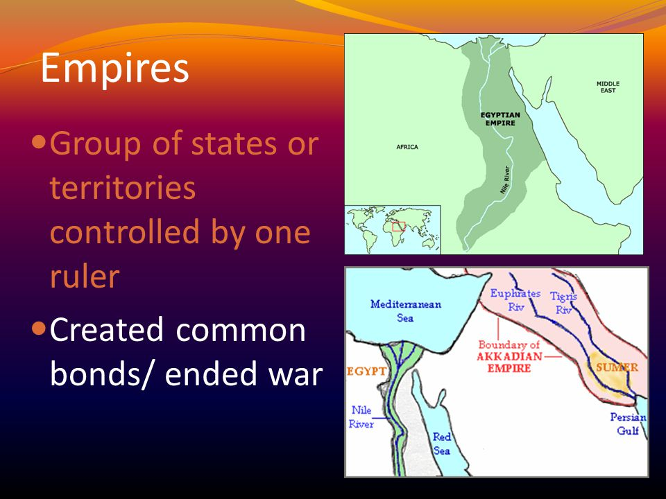 Empires Group of states or territories controlled by one ruler Created common bonds/ ended war