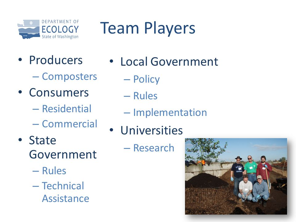 Team Players Producers – Composters Consumers – Residential – Commercial State Government – Rules – Technical Assistance Local Government – Policy – R