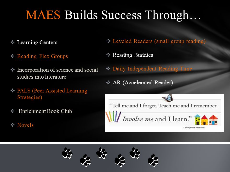MAES Builds Success Through…  Parent Involvement  Winter and Spring Music Programs  FFA High School Buddies  Rocket Project  Science * Math Expo  Math Flex Groups  Math Interventions  Robust Curriculum  MN History Projects  High Expectations