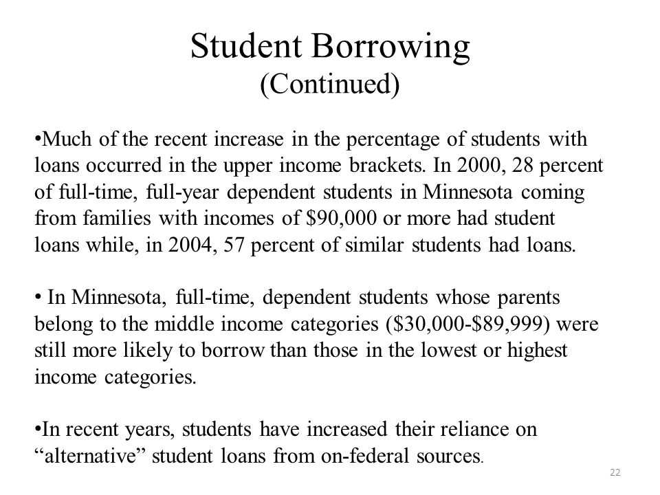 Student Borrowing (Continued) 22 Much of the recent increase in the percentage of students with loans occurred in the upper income brackets.