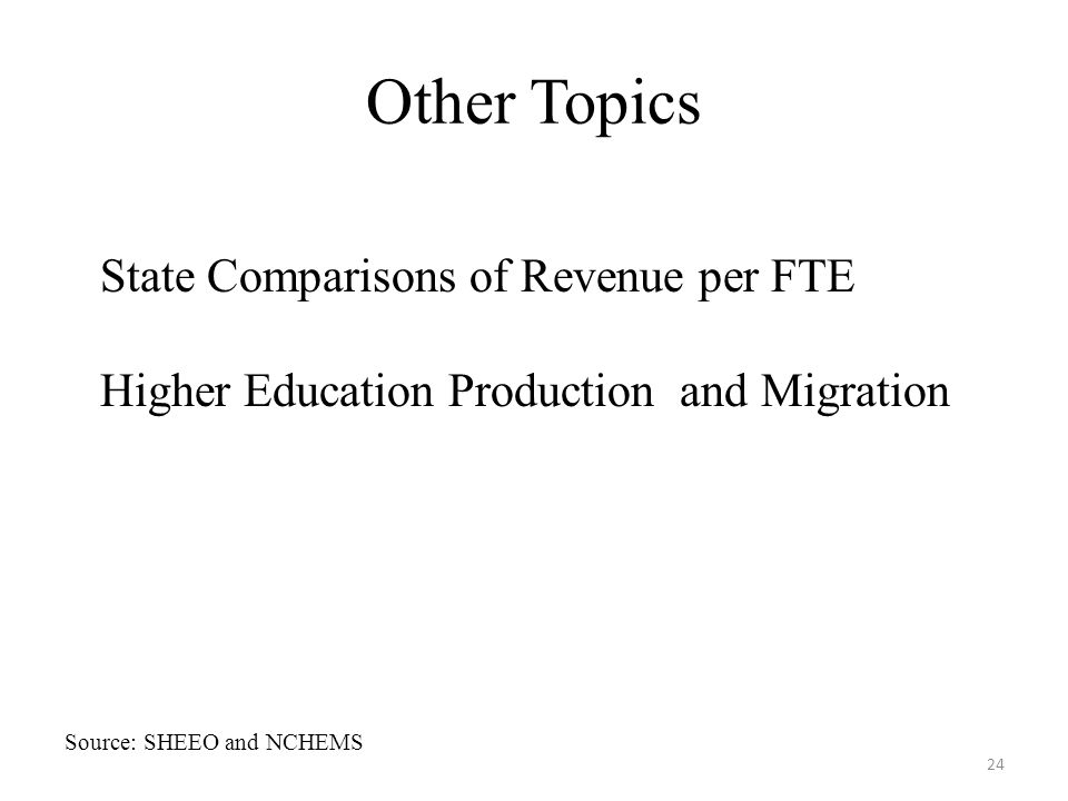 Other Topics 24 State Comparisons of Revenue per FTE Higher Education Production and Migration Source: SHEEO and NCHEMS