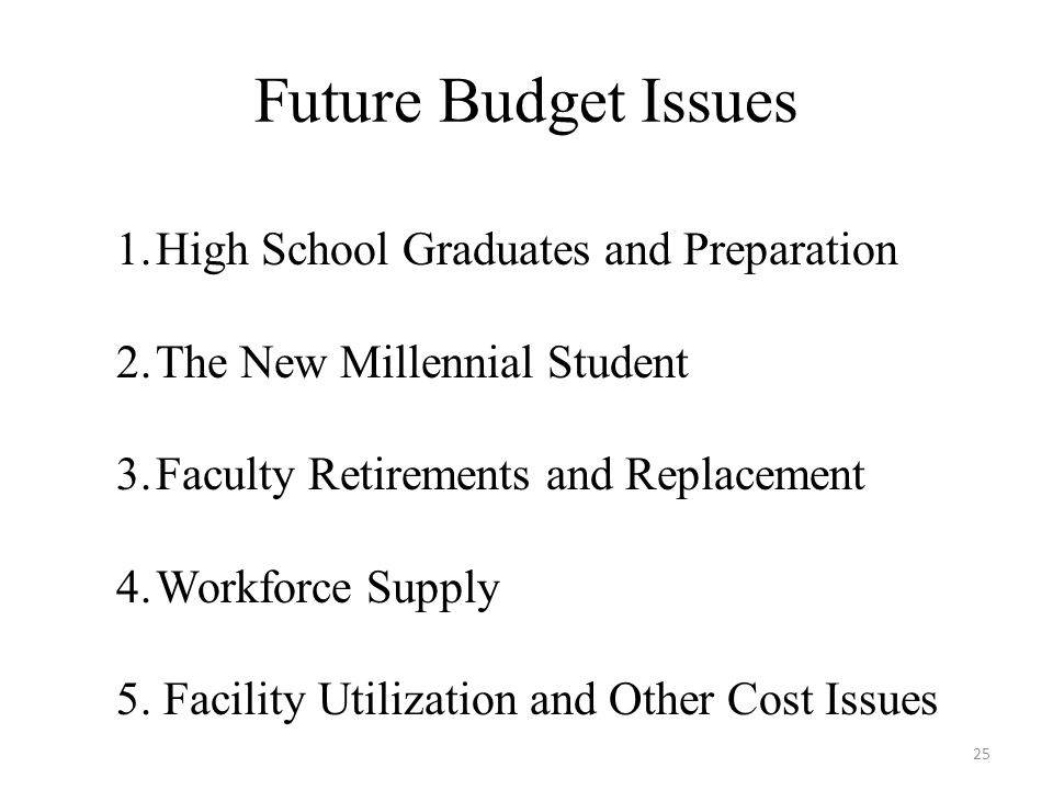Future Budget Issues 25 1.High School Graduates and Preparation 2.The New Millennial Student 3.Faculty Retirements and Replacement 4.Workforce Supply 5.