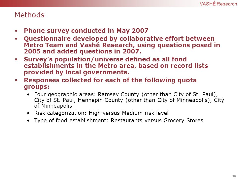 10 | Confidential to VASHÉ Research Methods  Phone survey conducted in May 2007  Questionnaire developed by collaborative effort between Metro Team and Vashé Research, using questions posed in 2005 and added questions in 2007.