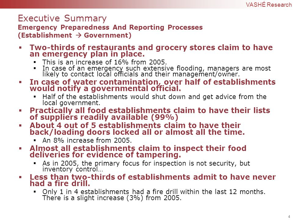 4 | Confidential to VASHÉ Research Executive Summary Emergency Preparedness And Reporting Processes (Establishment  Government)  Two-thirds of restaurants and grocery stores claim to have an emergency plan in place.