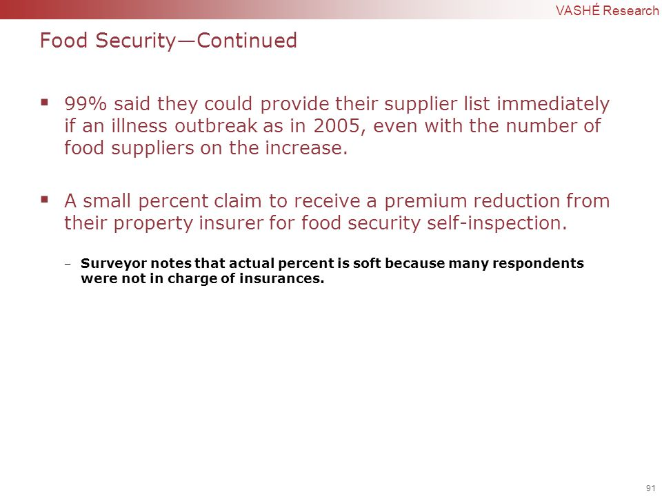 91 | Confidential to VASHÉ Research Food Security—Continued  99% said they could provide their supplier list immediately if an illness outbreak as in 2005, even with the number of food suppliers on the increase.