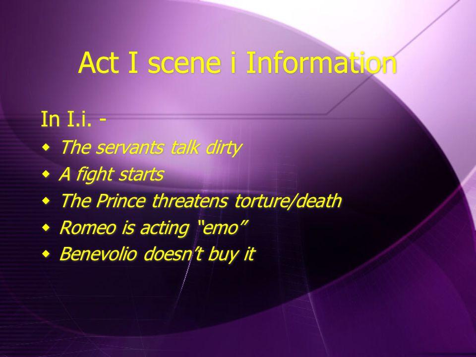 Act I scene i Information In I.i.