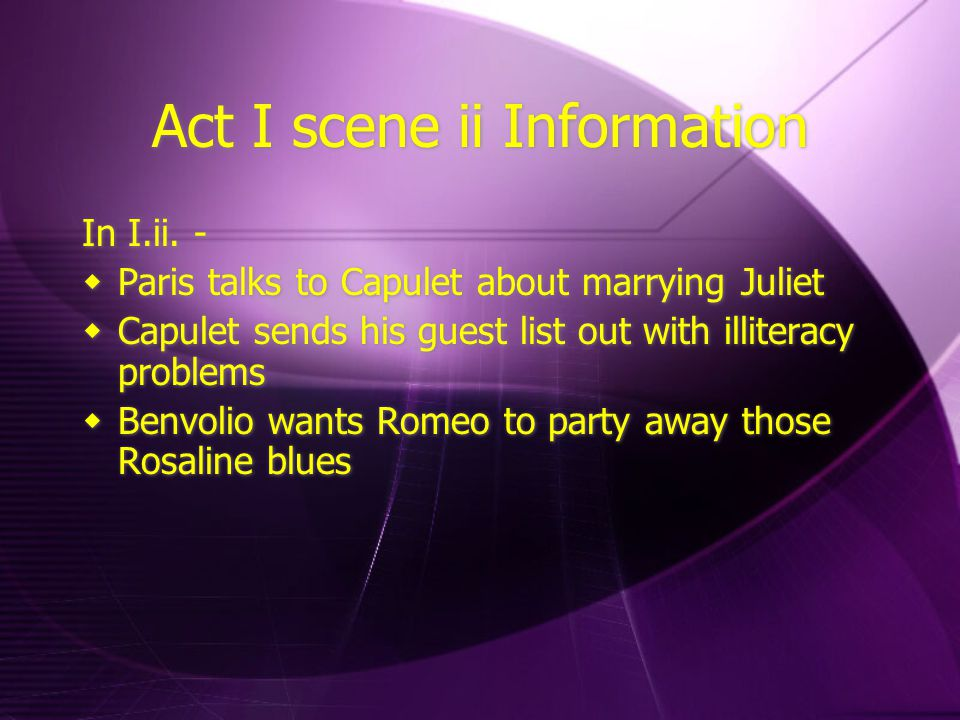 Act I scene ii Information In I.ii.