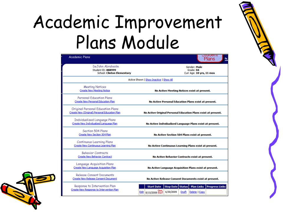 Academic Improvement Plans Module