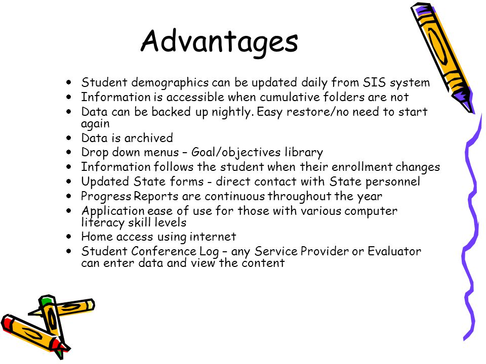 Advantages  Student demographics can be updated daily from SIS system  Information is accessible when cumulative folders are not  Data can be backed up nightly.