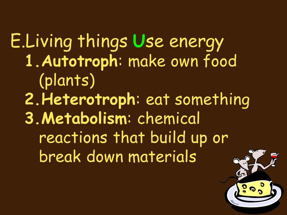 E.Living things Use energy 1.Autotroph: make own food (plants) 2.Heterotroph: eat something 3.Metabolism: chemical reactions that build up or break do