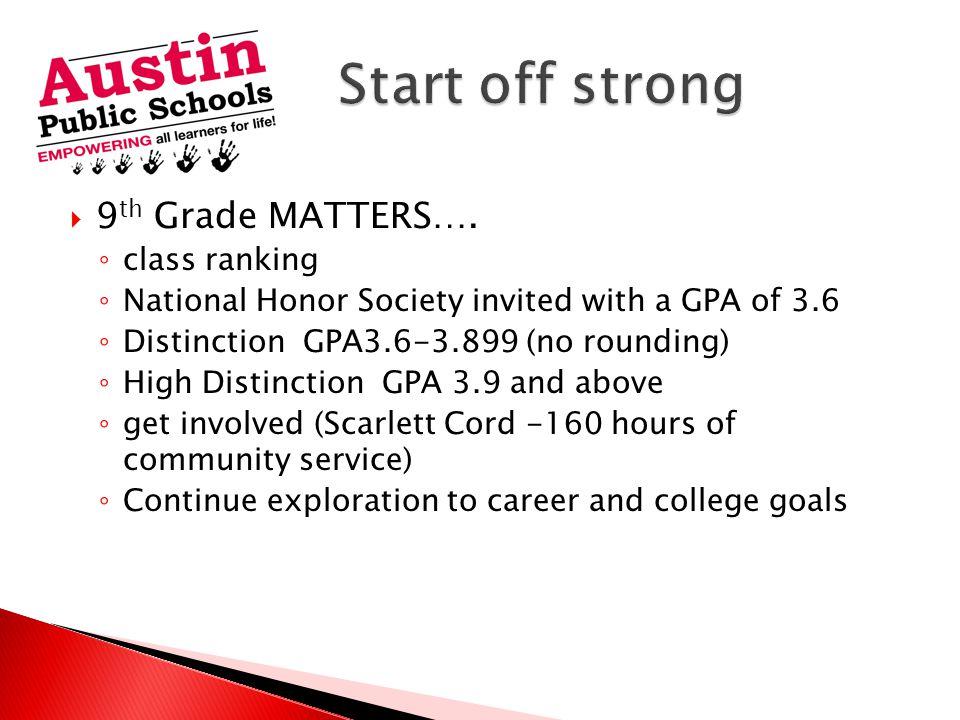  9 th Grade MATTERS….