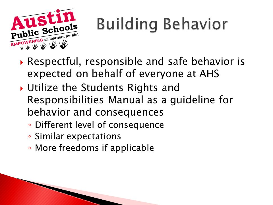  Respectful, responsible and safe behavior is expected on behalf of everyone at AHS  Utilize the Students Rights and Responsibilities Manual as a guideline for behavior and consequences ◦ Different level of consequence ◦ Similar expectations ◦ More freedoms if applicable