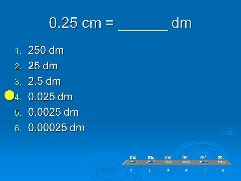 0.25 cm = ______ dm 1. 250 dm 2. 25 dm 3. 2.5 dm 4. 0.025 dm 5. 0.0025 dm 6. 0.00025 dm