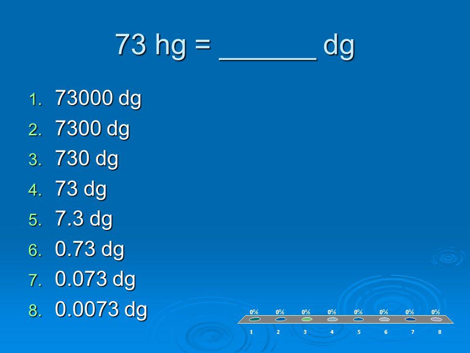 73 hg = ______ dg 1. 73000 dg 2. 7300 dg 3. 730 dg 4.