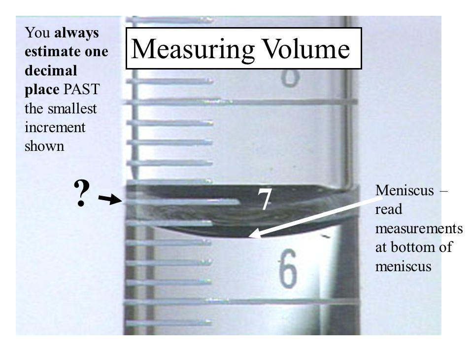 Meniscus – read measurements at bottom of meniscus .