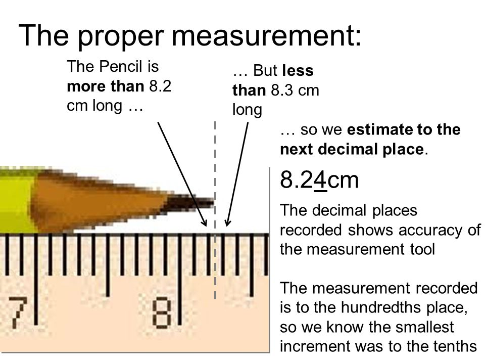 The proper measurement: The Pencil is more than 8.2 cm long … … But less than 8.3 cm long … so we estimate to the next decimal place.