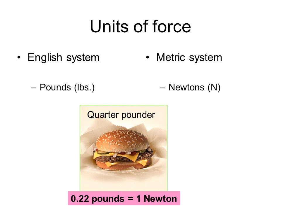 Units of force English system –Pounds (lbs.) Metric system –Newtons (N) Quarter pounder 0.22 pounds = 1 Newton