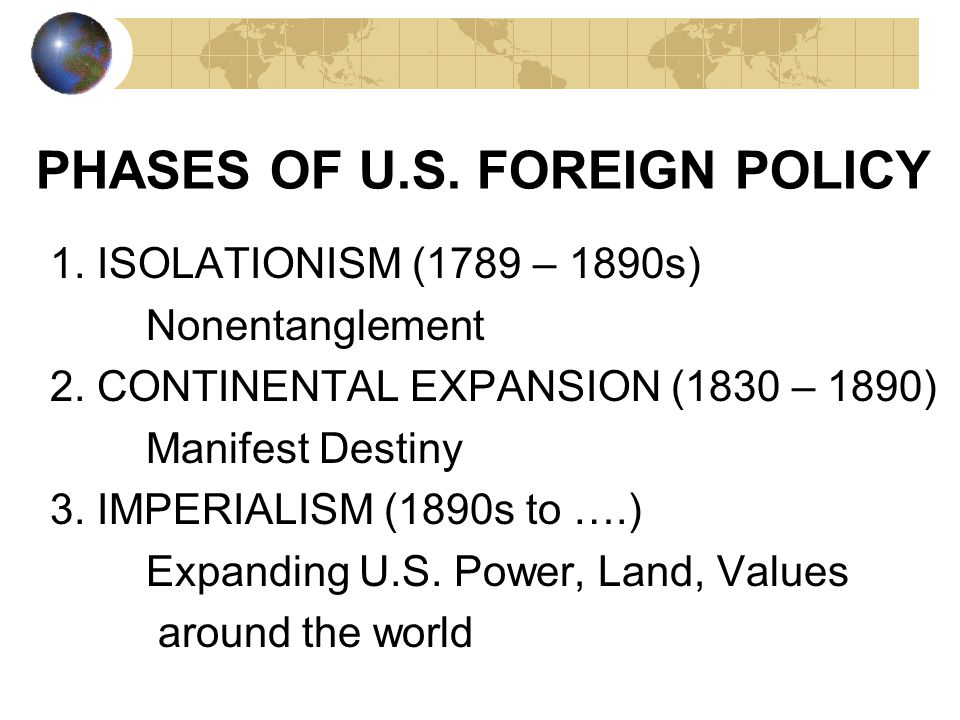 Factors that influence Foreign Policy Geography Military needs/power Economic needs/power Ethnic/cultural ties History DISCUSS: How do these impact th