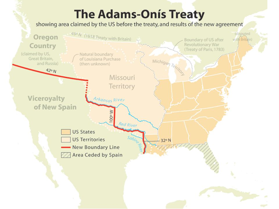 John Quincy Adams: Accomplishments Adams-Onis Treaty gives Florida (strategic importance) to US, eliminated Spain from contention for Oregon Territory Architect of Monroe Doctrine Adams' Vision: expansion of US to the Pacific, pursuit of good relations with newly independent nations in Latin America